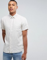 Celio Short Sleeve Shirt In 100% Linen