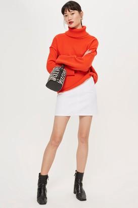Topshop Womens Tall Pocket A-Line Skirt - White