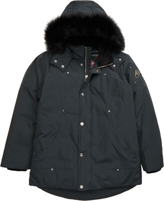 Moose Knuckles Hooded Parka with Genuine Fox Fur Trim