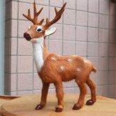 "9.5"" Realistic Stand Deer - Christmas Deer Window Show Decor Home Desk Shelf Furry Figurine Lifelike Replica Fawn Fur Handmade Garden Xmas Cervus Nippon Kids Educate Wild Animal Buck Statue Toy"