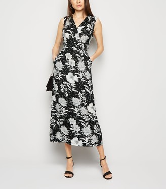 New Look Mela Floral and Spot Wrap Midi Dress