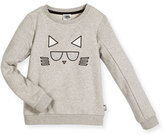 Karl Lagerfeld Choupette Crewneck Pullover Sweatshirt, Gray, Size 6-10