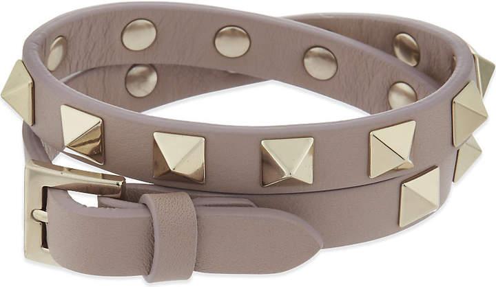 Valentino Rockstud leather double bracelet