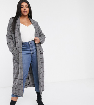 Glamorous Curve maxi coat in grid check-Grey