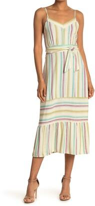 Luna Chix Striped Tie Waist Flounced Midi Dress