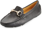 Neiman Marcus Daize Leather Flat Loafer, Black
