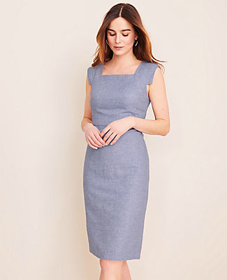 Ann Taylor The Petite Square Neck Cap Sleeve Sheath Dress in Linen Twill