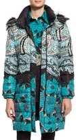 Etro Fox-Trim Hooded Floral Puffer Jacket, Teal