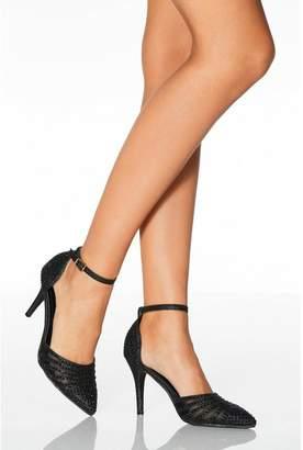 Quiz Black Diamante Strappy High Heel Court Shoes