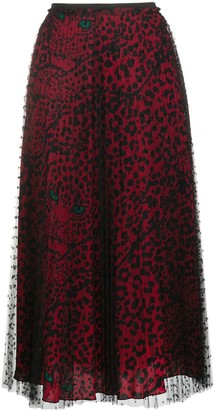 RED Valentino High-Waisted Leopard-Print Skirt