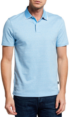 HUGO BOSS Men's Contrast-Tipping Jersey Polo Shirt