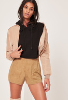 Missguided Faux Suede Perforated Runner Shorts Tan