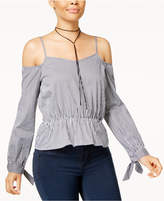 Say What Juniors' Cotton Cold-Shoulder Gingham-Print Top