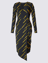 M&S Collection Printed Tie Side Wrap Midi Dress