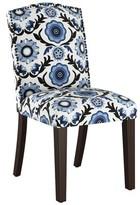 Wayfair Custom Upholstery Nadia Upholstered Dining Chair Body Fabric: Tulum Blue OGA, Leg Color: Espresso