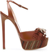 Casadei fringed strap platform sandals - women - Chamois Leather/Leather/Kid Leather - 36