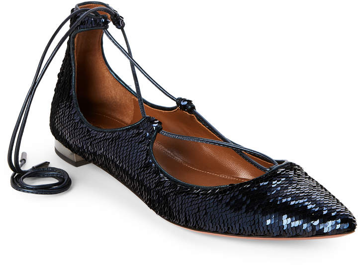 Aquazzura Blue Christy Sequin Lace-Up Flats