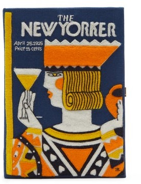 Olympia Le-Tan The New Yorker Embroidered Book Clutch - Blue Multi
