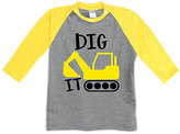 Urban Smalls Heather Gray & Yellow 'Dig It' Raglan Tee - Toddler & Boys