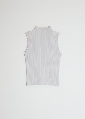 Pleats Please Issey Miyake Women's Sleeveless Mock Neck Basics Top in Light Grey, Size 5 | 100% Polyester