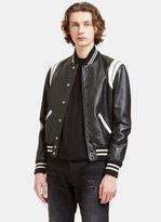 Saint Laurent Men's Leather Teddy Bomber Jacket In Black