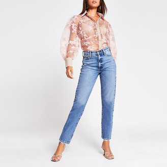 River Island Light pink floral organza sheer shirt