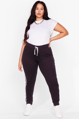 Nasty Gal Womens Read Between the Lines Plus Striped Joggers - Black