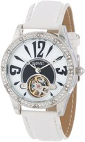 August Steiner Women's AS8034WT Crystal Skeleton Strap Watch