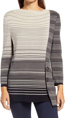 Ming Wang Asymmetrical Stripe Knit Tunic
