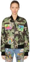 Jeremy Scott Camo Print Cotton Bomber Jacket