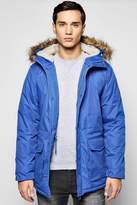 boohoo Faux Fur Hooded Parka Jacket royal