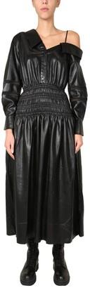 Self-Portrait Faux Leather Off Shoulder Midi Dress