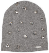 Jimmy Choo Eva Navy Blend Cashmere Knitted Beanie with Crystals