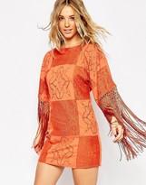 Asos Premium Crochet Patchwork Fringed Dress