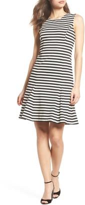Vince Camuto Stripe Scuba Crepe Fit & Flare Dress