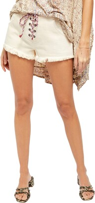 Free People Becket Lace-Up Cutoff Denim Shorts