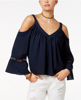 XOXO Juniors' Strappy-Back Cold-Shoulder Top