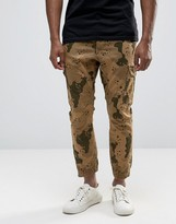 Asos Tapered Joggers With Camo Design In Stone