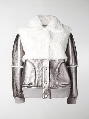 See by Chloe Metallic Shearling Bomber Jacket