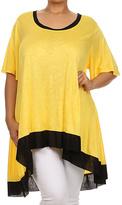 Canari Yellow & Black Contrast Hi-Low Tunic - Plus