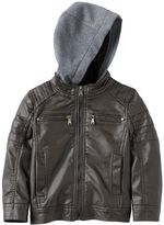 Urban Republic Boys 4-7 Knit Hooded Faux-Leather Moto Jacket