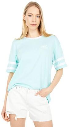 Hurley Washed Oversized Varsity Boyfriend Short Sleeve Tee (Light Dew) Women's Clothing