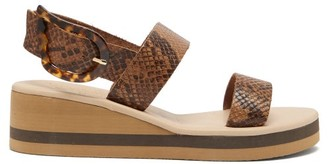 Ancient Greek Sandals Clio Rainbow Python-embossed Leather Wedges - Brown Multi