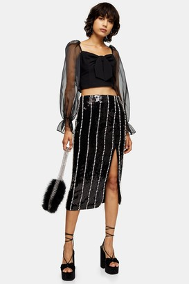 Topshop Black Sequin Diamante Skirt