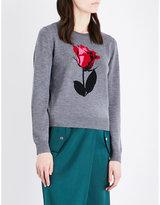 Markus Lupfer Rose intarsia-knitted merino wool jumper