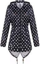 Meaneor Women's Fishtail Waterproof Raincoat Dot Cute Outdoor Hooded Rain Jacket Rose Red S