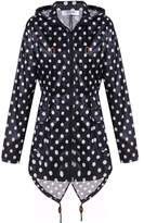 Meaneor Women's Long Sleeve Fishtail Dot Print Cute Raincoat Waterproof Jacket Black and White S
