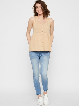 Mama Licious Maternity/Nursing Jersey Button Down Top - Stone