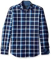 Bugatchi Men's Long Sleeve Shaped Fit Windowpane Pattern Sports Shirt