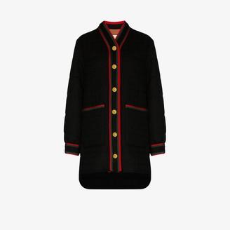 Gucci Web stripe padded tweed coat